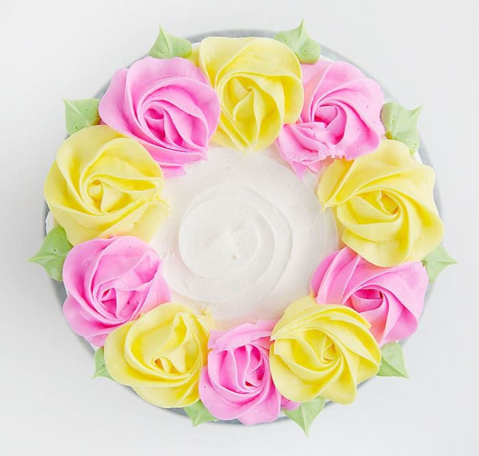 """I love the idea of treating the special people in your life in a special way… cake! These 4 Easy Buttercream Cakes are designed with """"mom"""" in mind… in soft pastels and flowers galore! To make these cakes you will need: cake buttercream recipe sprinkles piping tips offset spatula cake stand rotating cake stand Rose..."""