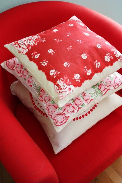 vintage hankie pillows...make with old valentine themed hankies