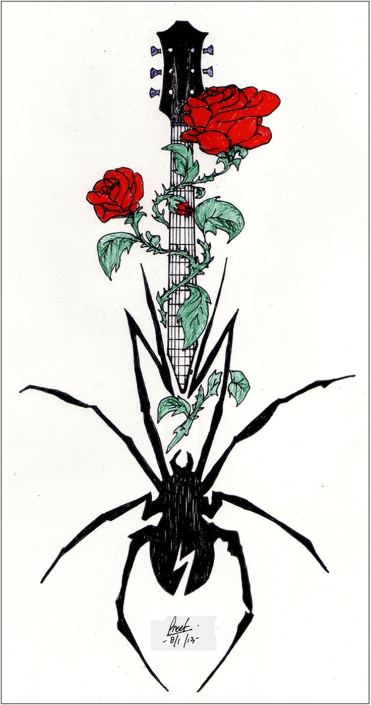 Tattoo design request by :  gerardismybatman  Spider (MCR logo)= perseverance/ endurance/  courage/ wisdom /will power  Red rose with thorns = love/ pain/ life struggles/ risky life  Rosebud = new life/ new adventure  Guitar = love for music/ inspiration/ youthfulness/ passion/ dreams