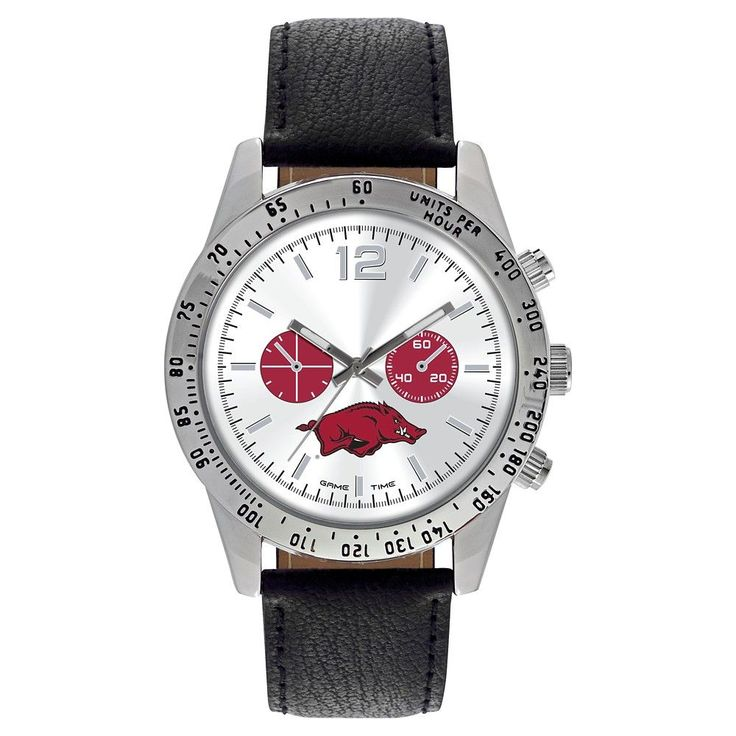 Men's Game Time NCAA Letterman Sports Watch - Black - Arkansas Razorbacks