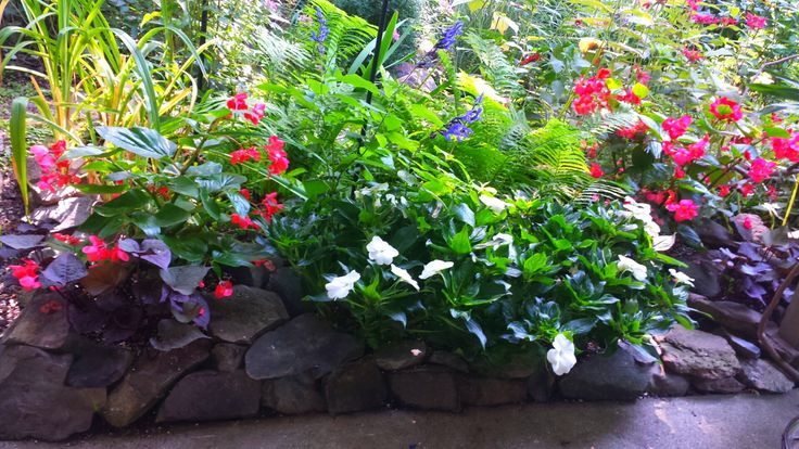 i used rocks to create little annual planter boxes around my sitting area to give the area different height!