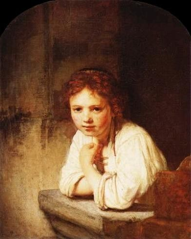 A Classical Art oil painting for sale of A Young Girl Leaning on a Window Sill by Rembrandt Van Rijn. A real Oil on canvas painting only at http://www.judaica-art.com