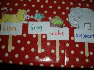 Dear Zoo - stick puppets and practicing sight words