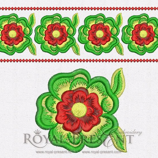 Free Machine Embroidery Design Oriental Flower