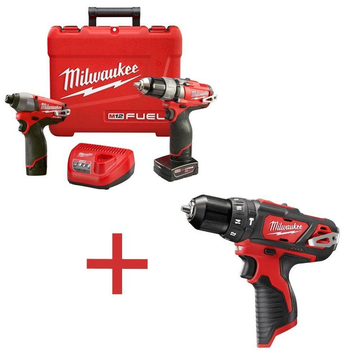 Milwaukee M12 Fuel 12-Volt Lithium-Ion Brushless Cordless 1/2 in. Drill/Impact Combo Kit with M12 3/8 in. Hammer Drill (Tool Only)