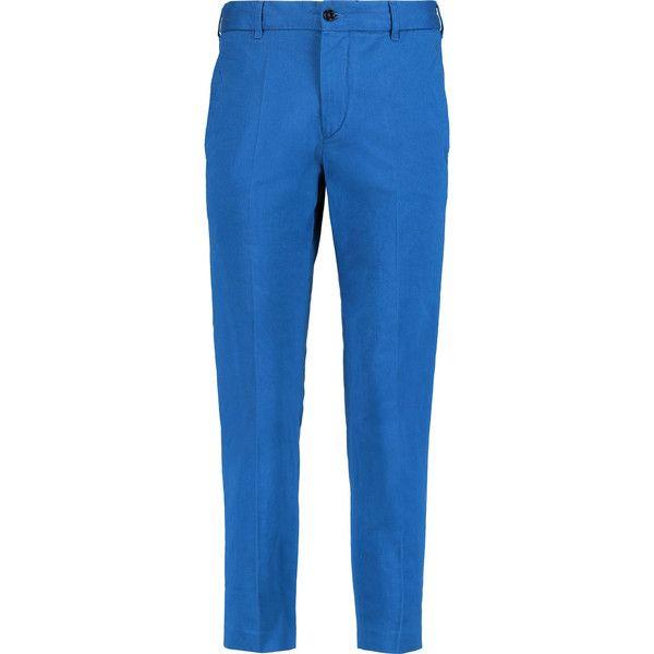 Étoile Isabel Marant Loane cotton-twill slim-leg pants (5.895 RUB) ❤ liked on Polyvore featuring pants, cobalt blue, cotton twill pants, slim pants, blue trousers, cobalt blue pants and button pants