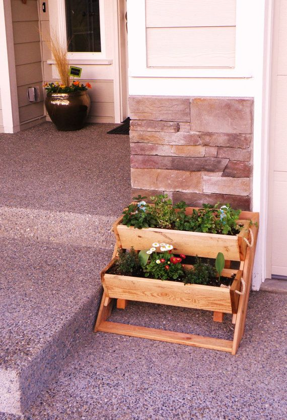 """garden kit 2 planter sys 24"""" Wide Wall raised bed free standing gardening system, large planter, patio, condo, free shipping USA by RopedOnCedar on Etsy"""