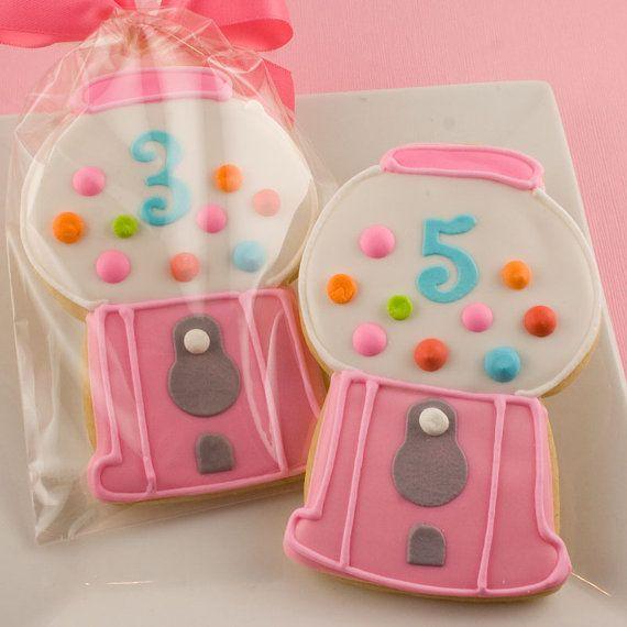 Bubble Gum Machine cookies: Gum Machine, Gum Cookies, Decor Cookies, Bubbles Gum, Cookies Cutters, Parties Ideas, Gum Ball, Machine Cookies, Gumball Cookies