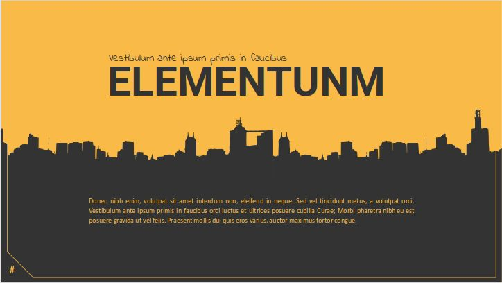 Elementum is an urban design presentation template that might be used under many scenarios: from branding purposes to corporate or commercial environments. The unbelievable set of icons taken from flaticon.com can be edited and replaced to meet you needs. #free #presentation #templates #google #slides