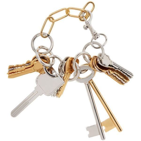 Balenciaga Gold and Silver Multiple Key Bracelet (12.716.865 IDR) ❤ liked on Polyvore featuring jewelry, bracelets, gold, balenciaga jewelry, key bracelet, carved jewelry, engraved bangle and engraved jewellery