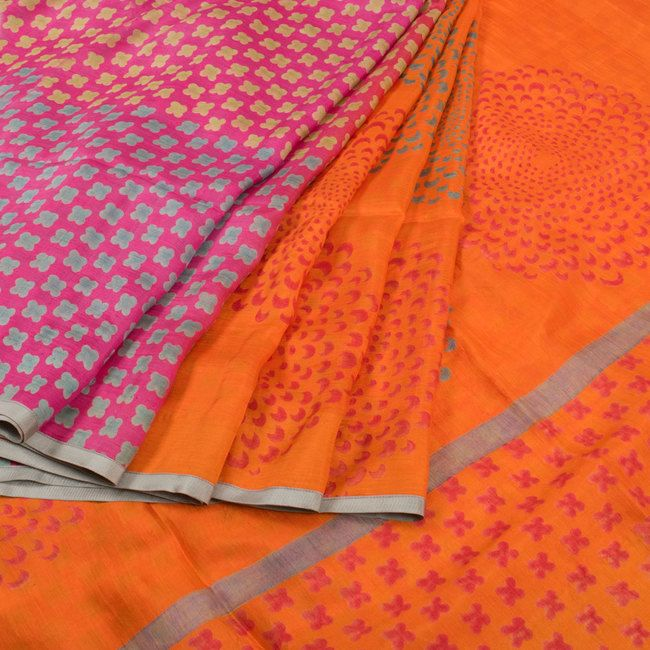Buy online Hand Block Printed Half and Half Orange Mulberry Silk Saree Without Blouse & Four Petal Design 10013721