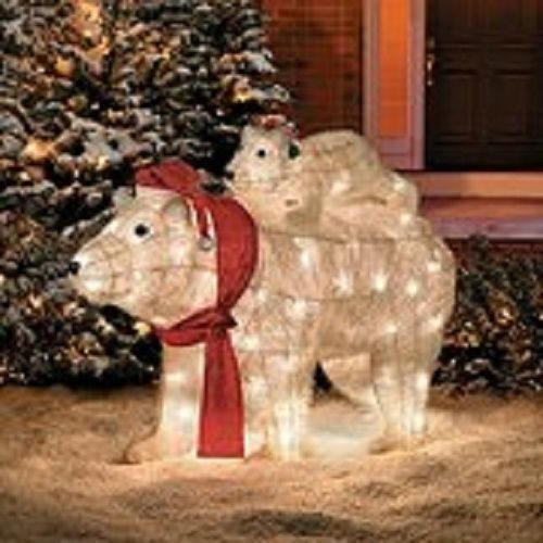 Lighted pre lit christmas polar bear sculpture outdoor for Pre lit outdoor decorations