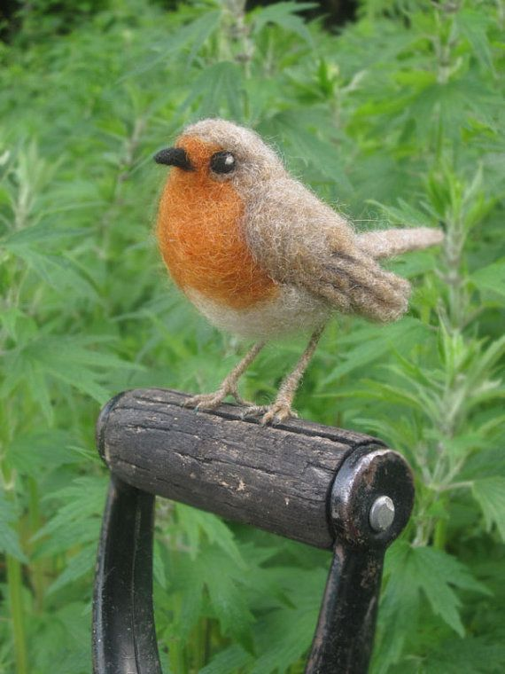 European Robin needle felted bird by Ainigmati on Etsy