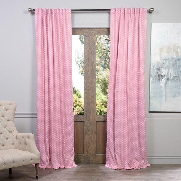 Exclusive Fabrics Pink Polka Dot Blackout Back-tab Pole Pocket Curtain Panel Pair