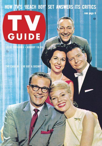 """TV Guide, August 18, 1962 - From top - Garry Moore, Bess Myerson, Henry Morgan, Bill Cullen, and Betsy Palmer of """"I've Got A Secret"""""""
