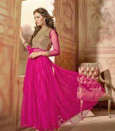 Buy Pink Embroidered Net semi stitched salwar with dupatta collar-neck-design online