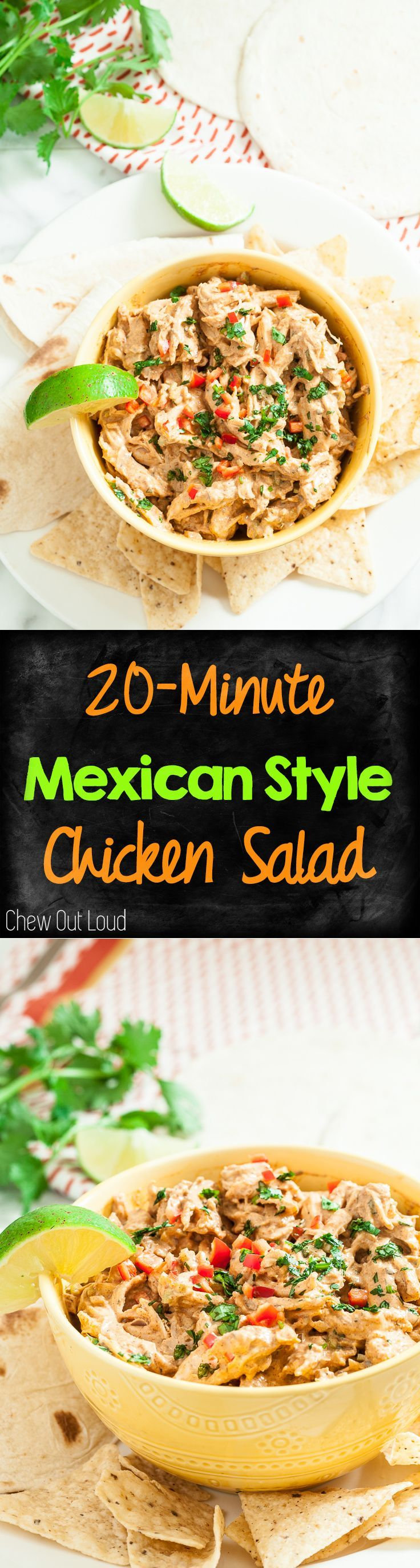 Mexican Style Chicken Salad is great for weekday meal prep, potlucks, and parties alike. So easy and tasty! #mexican #chicken #salad www.chewoutloud.com