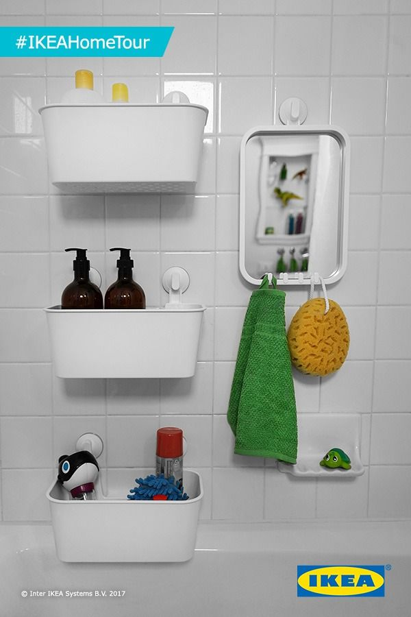 Want handy storage without drilling holes? The #IKEAHomeTour Squad has the answer! In their latest makeover, the Squad used the IKEA STUGVIK accessories which include hooks, a basket and even a towel holder. These all come with suction cups to hold them tightly against smooth surfaces like tiles or glass - perfect for any bathroom or shower!