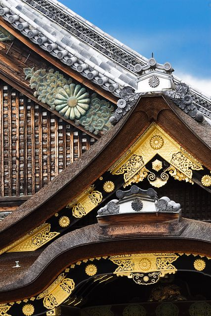 The roof details of Nijo Castle, Japan
