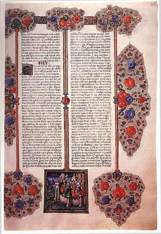Gothic book pages from the 15th century, from France, Italy and Hungary.