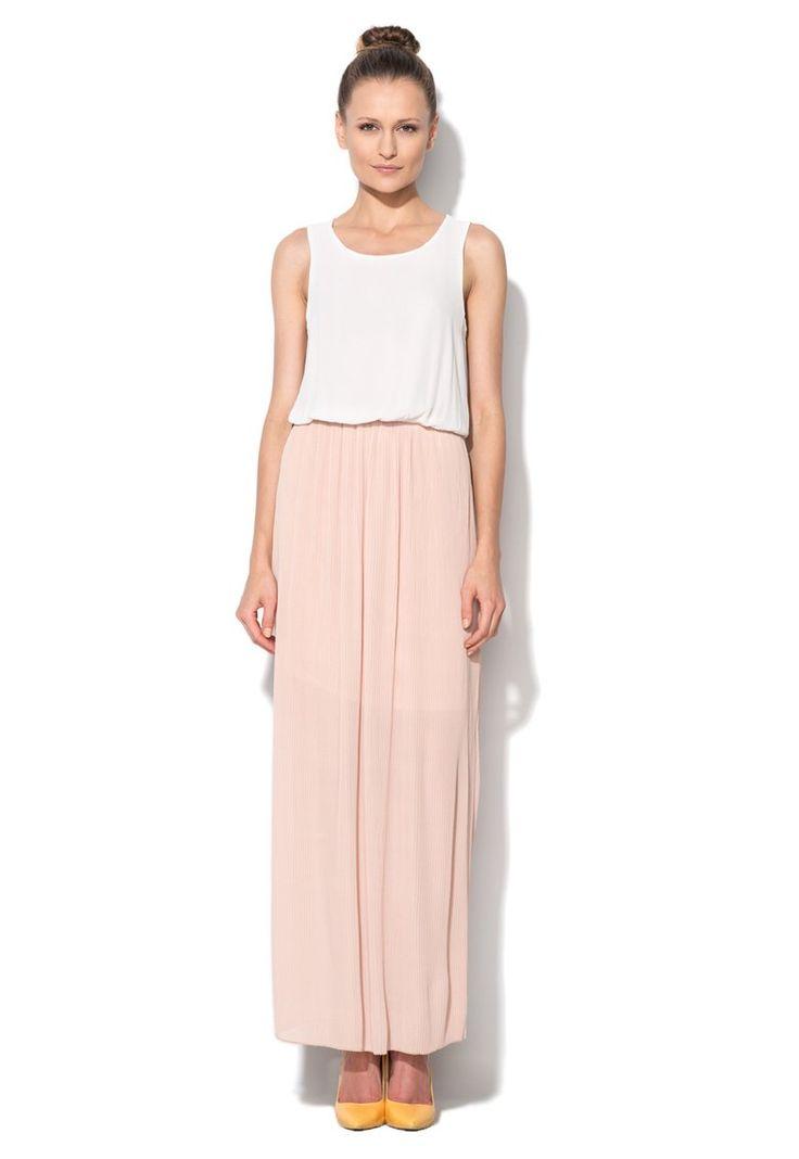 Rochie alb cu roz pastel Clarise.  www.fashiondays.ro/only