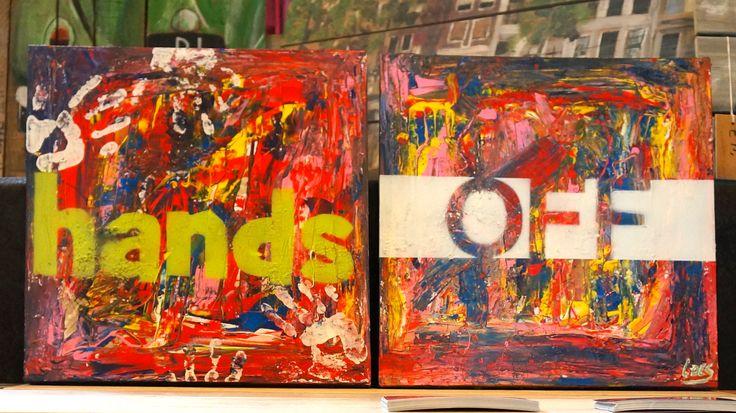 """2 Luik schilderij """"Hands Off"""" acryl op doek 50/50"""