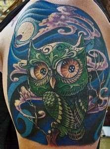 Owl tattoo - eeeeek!Owls Tattoo, Art Tattoo, Night Owls, Body Art, A Tattoo, Shoulder Tattoo, Amazing Tattoo, Night Sky, Owl Tattoos