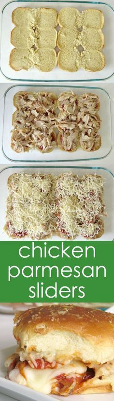 easy chicken recipes Try these Chicken Parmesan Sliders! super easy and delicious easy chicken dinners
