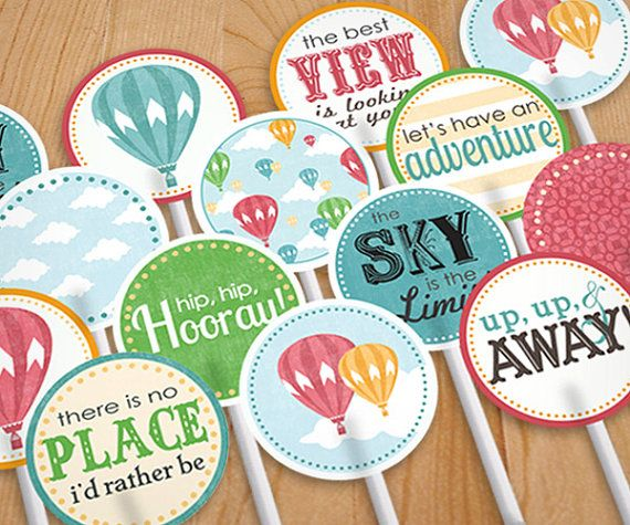 HOT AIR BALLOON Party Circles & Cupcake Toppers in Vintage Rainbow- Instant Printable Download