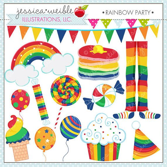 Rainbow Party Cute Digital Clipart for by JWIllustrations on Etsy, $5.00