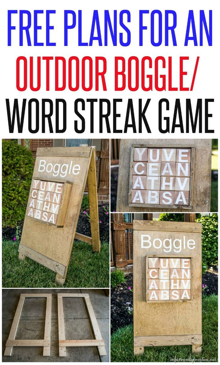 Get outside and play Boggle/Word Streak with your family and friends with this DIY outdoor game and free building plans!