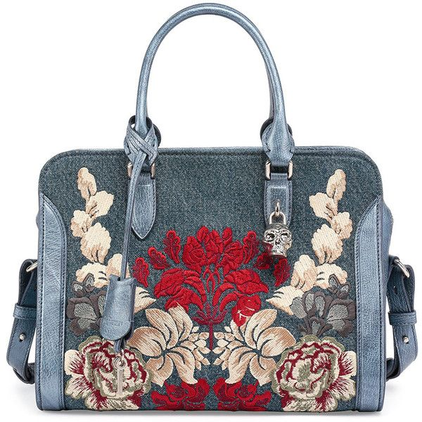 Alexander McQueen Padlock Small Denim Satchel Bag w/Floral Embroidery (3,450 CAD) ❤ liked on Polyvore featuring bags, handbags, denim multi, top zip satchel, denim handbags, satchel handbags, blue purse and top handle handbags