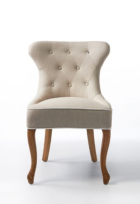 George Dining Chair lin Flax/White