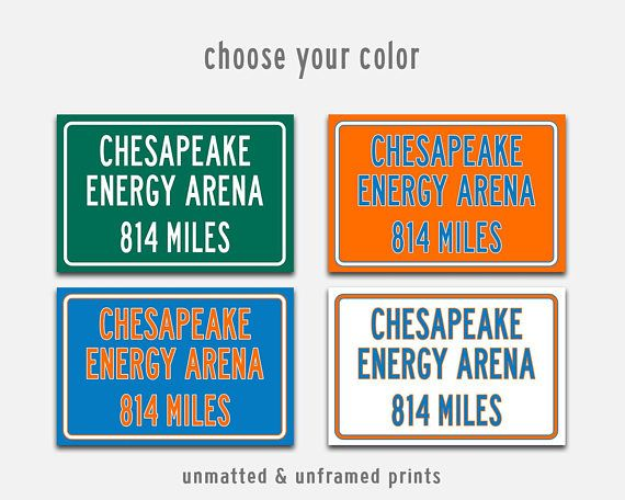 Chesapeake Energy Arena Sign!  Show the Miles To from your own home, show your support for your favorite OKC Thunder team, or give as a Personalized gift perfect for Basketball Fan Gift.