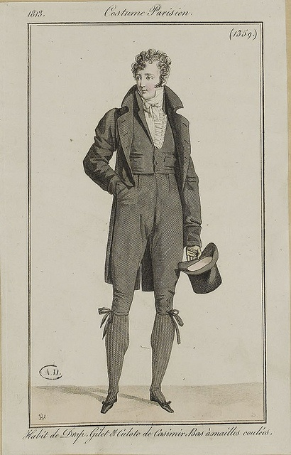 Fashion plate, France, 1813, woollen coat, cashmere waistcoat and breeches, knitted stockings