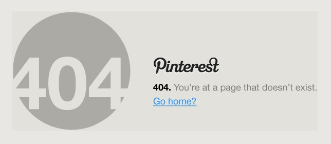 Simple 404 from Pinterest Himself
