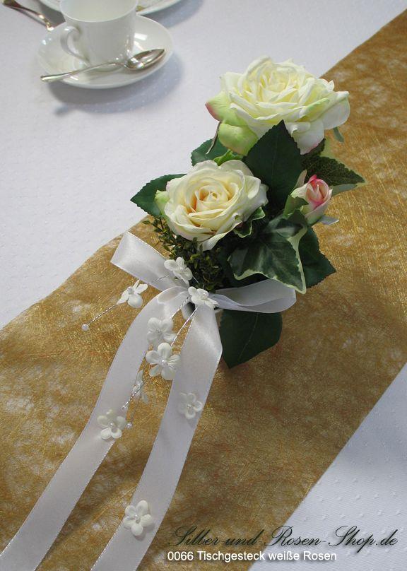Tischgesteck weiße Rosen - Silber-und-Rosen-Shop