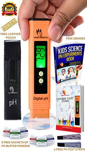 BLOWOUT OFFER  Digital pH Meter Kit | High Accuracy pH Tester Range 0-14 | Hydroponics Aquarium Swimming Pool Water Quality Test with ATC | 6 Sachets of pH Buffer Solution Powder | Extra Battery
