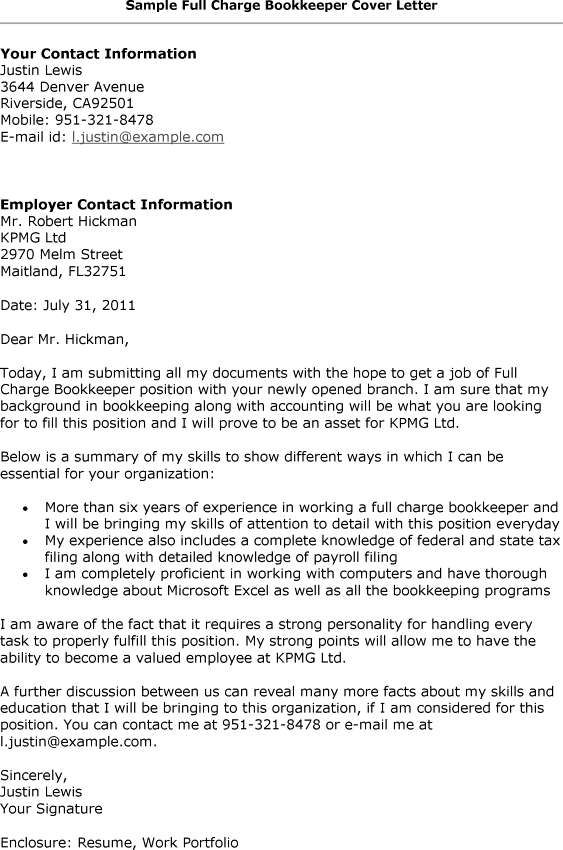 Full Charge Bookkeeper Cover Letter -    wwwresumecareerinfo - bookkeeper cover letter