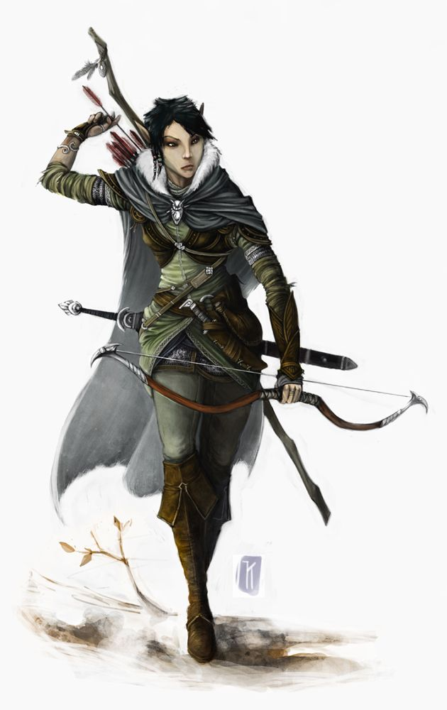 Female Elf Ranger - very cool! Love the whole look especially the backside holder for the sword rather than down the side straight down