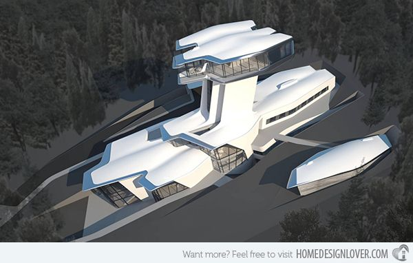 Capital Hill Residence situated on the slopes of Barvikha, Russia. Other than Italy, which is original home of futurism, Russia is the second original home.
