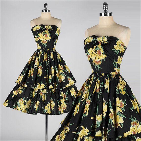 vintage 1950s dress . black yellow floral cotton . strapless . 3563