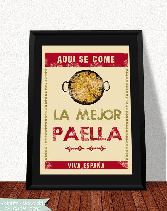 "Paella typography art print - Spanish Paella - weathered aged look 8.5""x11"" print - restaurant art, kitchen art - cocina española - gift on Etsy, $20.00"