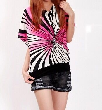 Pink and black Vneck Trendy top blouse shirt from Urban Buy
