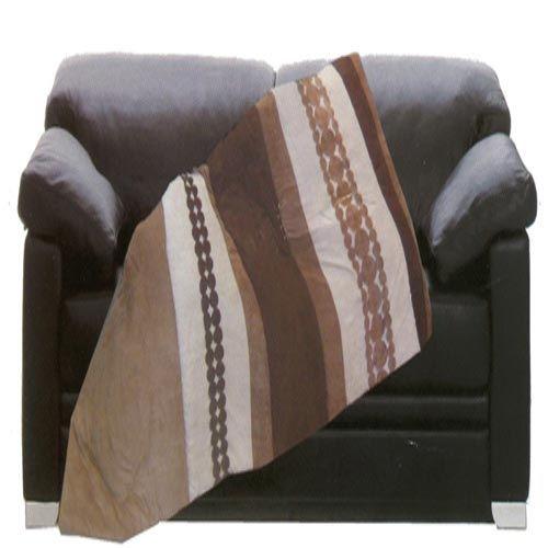 Coperte - copriletti : Coperta Plaid imbottito effetto alcantara poliestere marrone panna divano