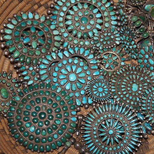 Zuni Turquoise Clusters via Uchizono Gallery