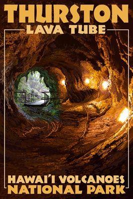Thurston Lava Tube - Hawaii Volcanoes National Park - Lantern Press Poster