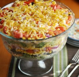 South By Southwest Layered Cornbread  Salad - This is one of my go-to potluck recipes that I've been making for probably six or seven years.  I adapted it from a Southern Living recipe (can you tell I love Southern Living yet?) and I never fail to bring home an empty bowl.  It's a real crowd pleaser, very easy to make, and what about those layers, eh?  Are they pretty or what?