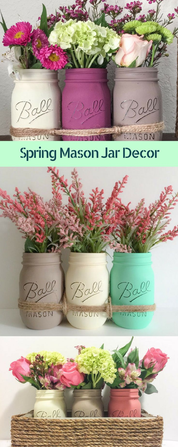 Gorgeous hand Painted and distressed mason jar decor just in time for spring! Add to any table or planter to make an eye candy centerpiece. #ad #masonjardecor #farmhousedecor #rusticdecor #springdecor #homedecor