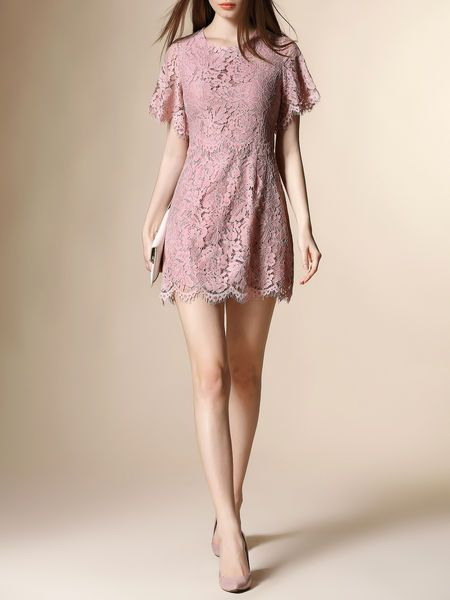 Crocheted Cotton-blend Mini Dress